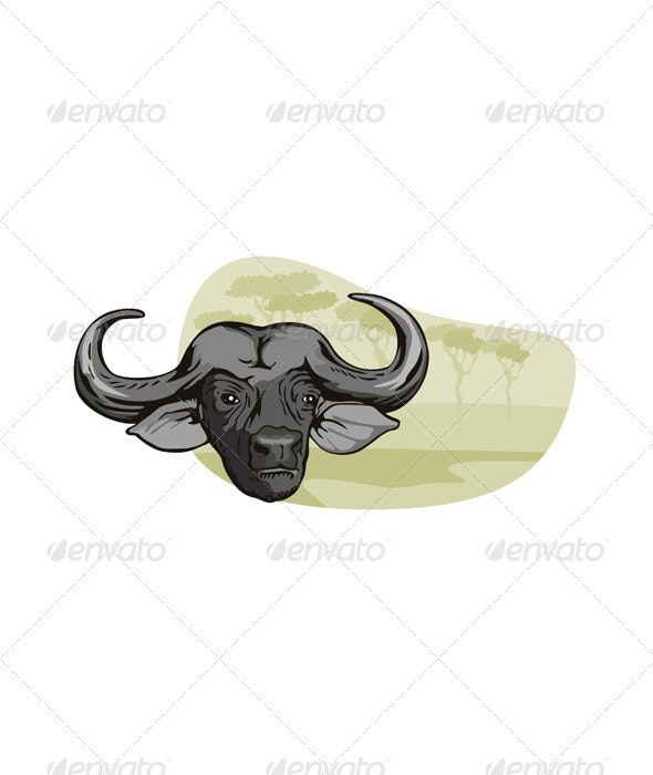African Buffalo Retro - Animals Characters