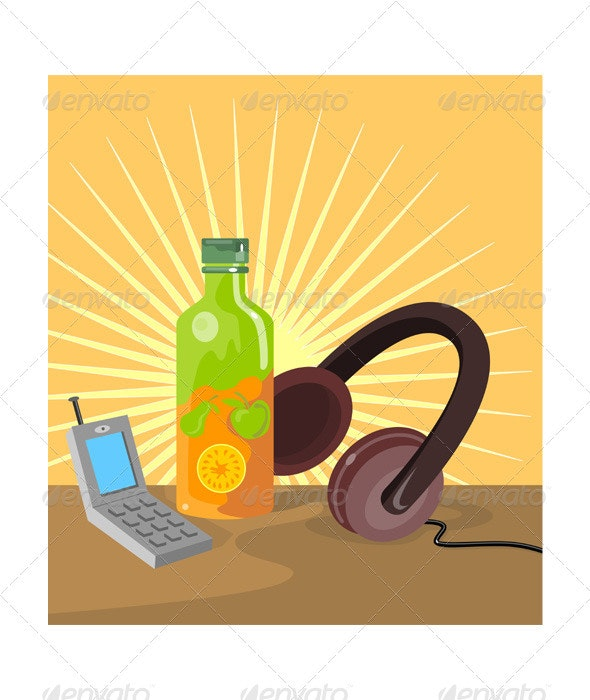 Mobile Phone Soda Drink Headphone Retro  - Man-made Objects Objects