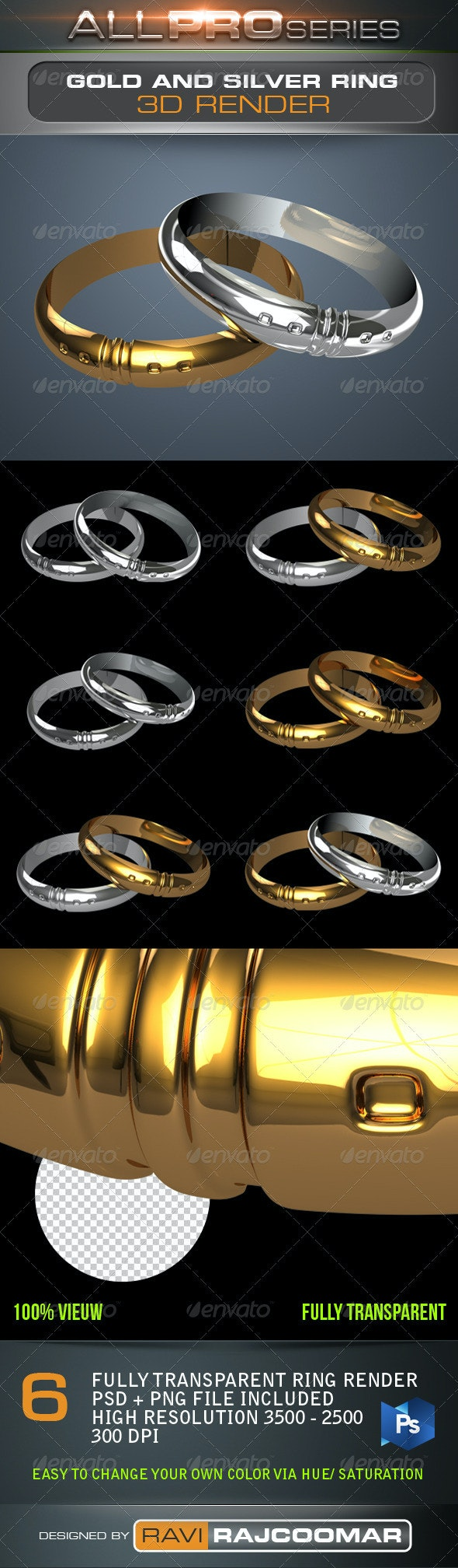 Gold & Silver Ring - Objects 3D Renders