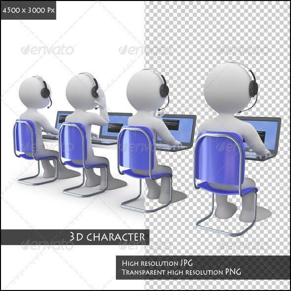 Employees Working in a Call Center - Technology 3D Renders
