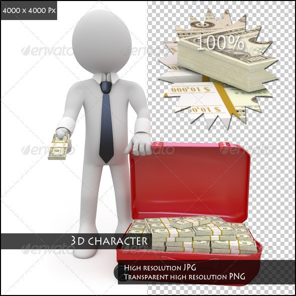 Businessman with a Suitcase Full of Wads of Cash - Characters 3D Renders