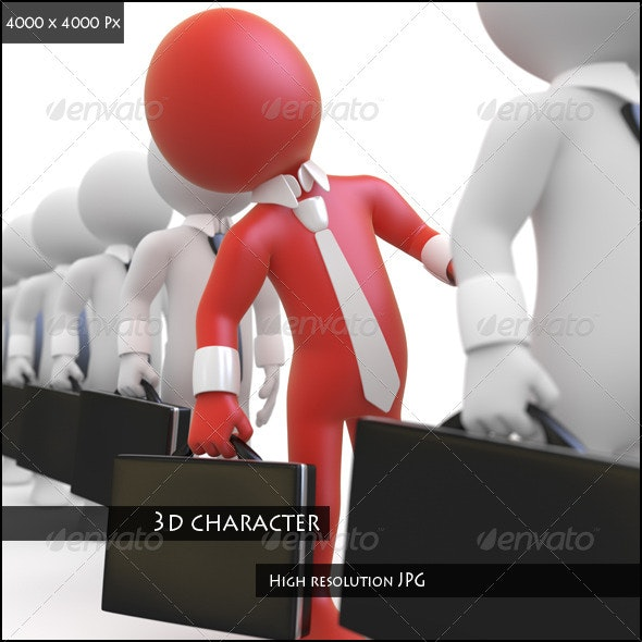 Businessman Queuing with a Briefcase in Hand - Characters 3D Renders