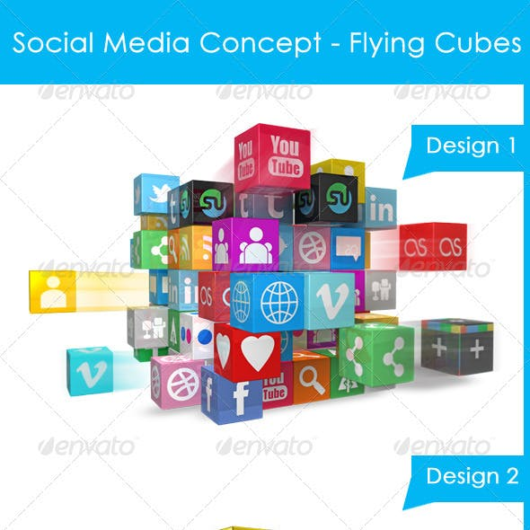 Social Media Concept - Flying Social media Cubes