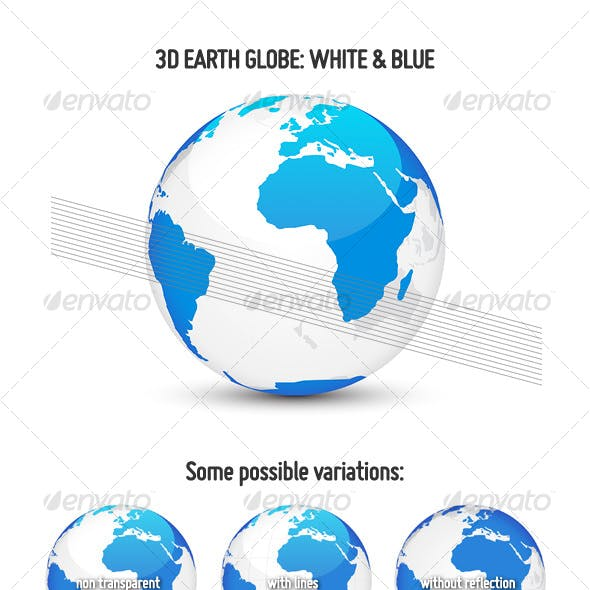 3D Earth Globe: White & Blue