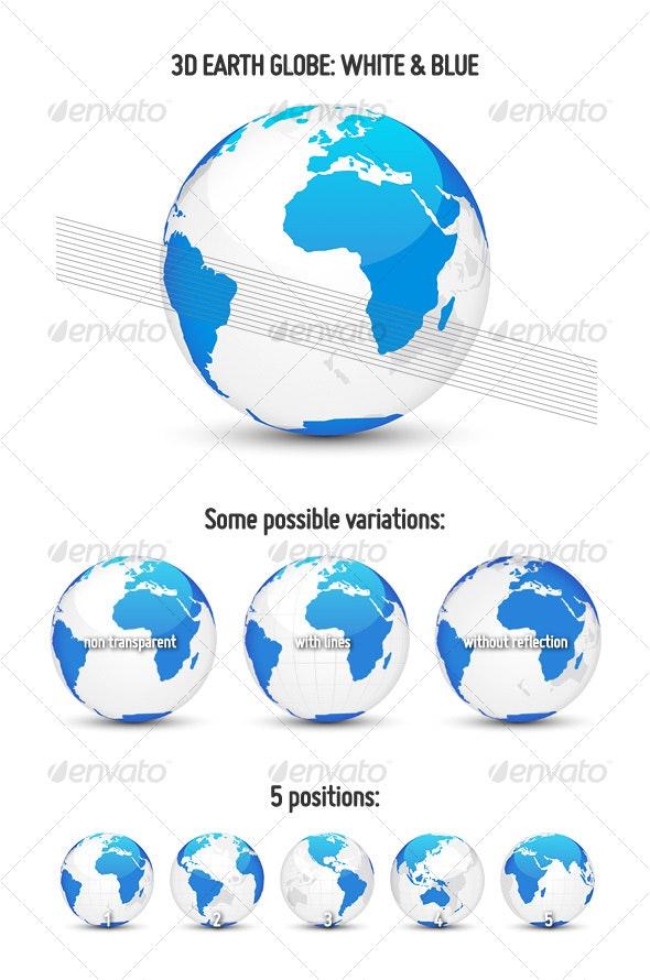 3D Earth Globe: White & Blue - Objects Vectors