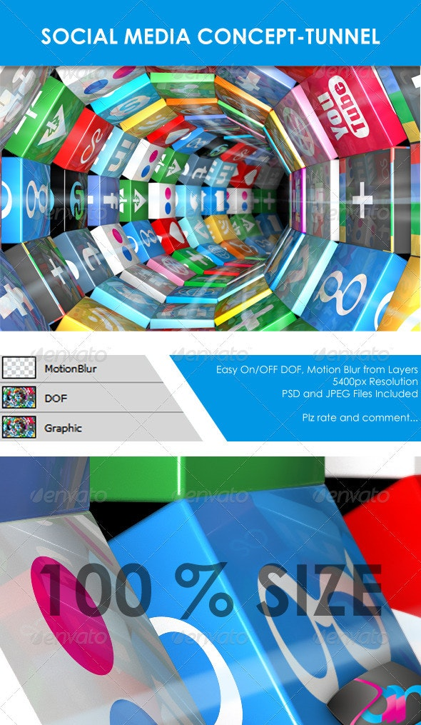 Social Media Concept - Tunnel  - Miscellaneous 3D Renders