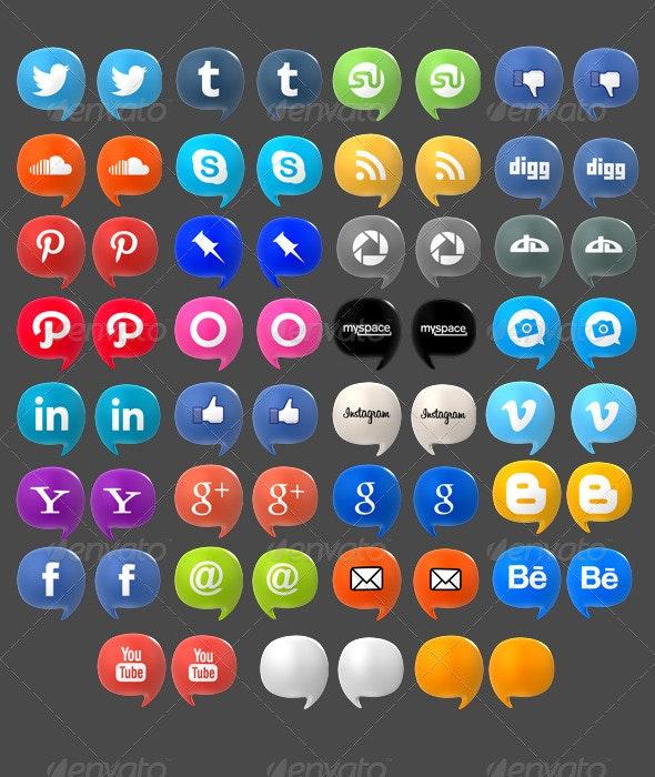 Social Media Baloons Set (Pack of 35) - Web Icons