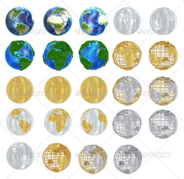 Earth Globe Pack 1 - Miscellaneous 3D Renders