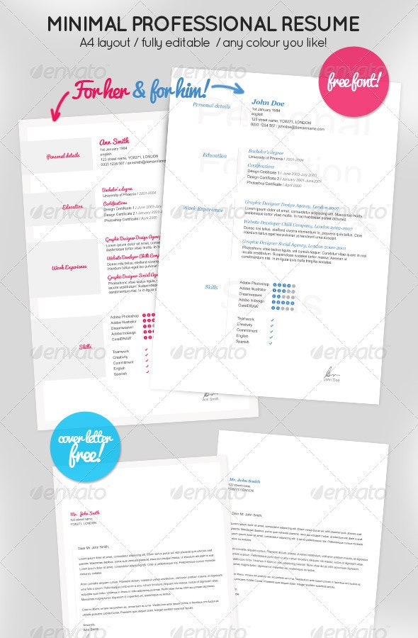 Minimal Resume for Her & Him + Cover letter - Resumes Stationery