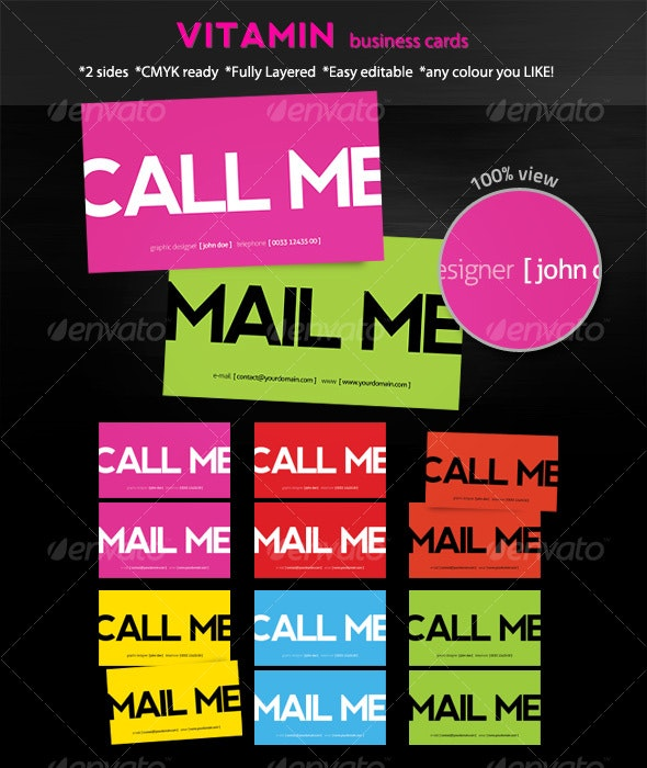 Vitamin Business Cards - Creative Business Cards