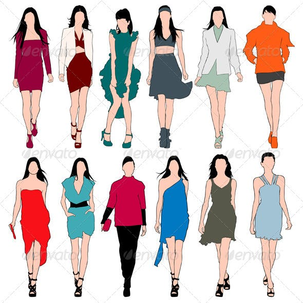 Fashion Models Silhouettes Vector Set