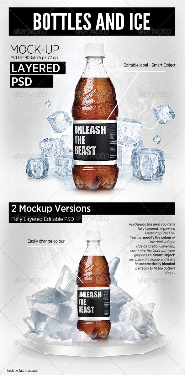 Bottles and Ice cool Mock-Up brand showcase - Food and Drink Packaging