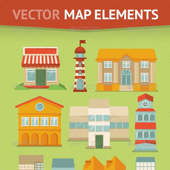 Set of Map Elements and Icons in Retro style