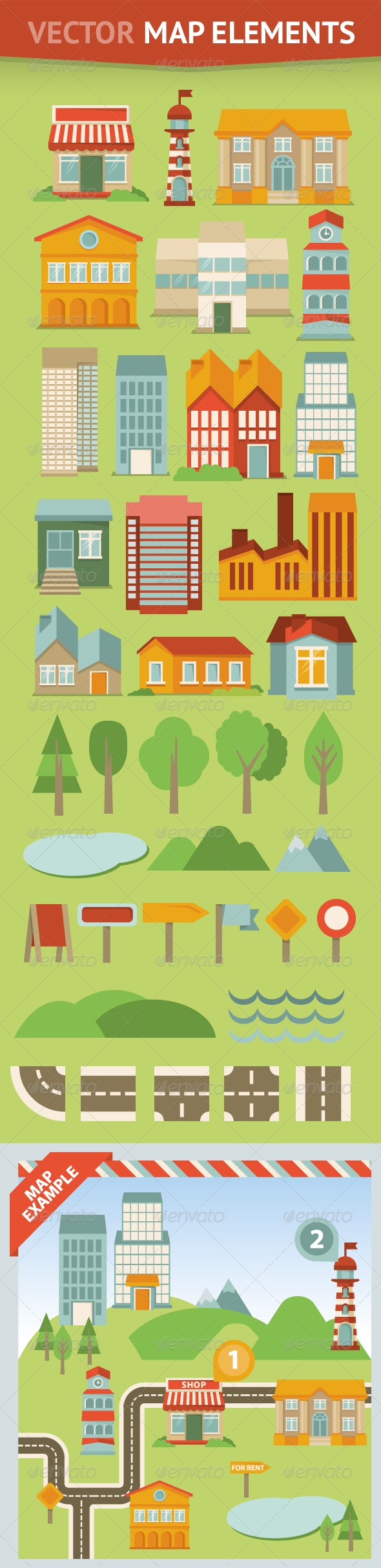 Set of Map Elements and Icons in Retro style - Objects Vectors