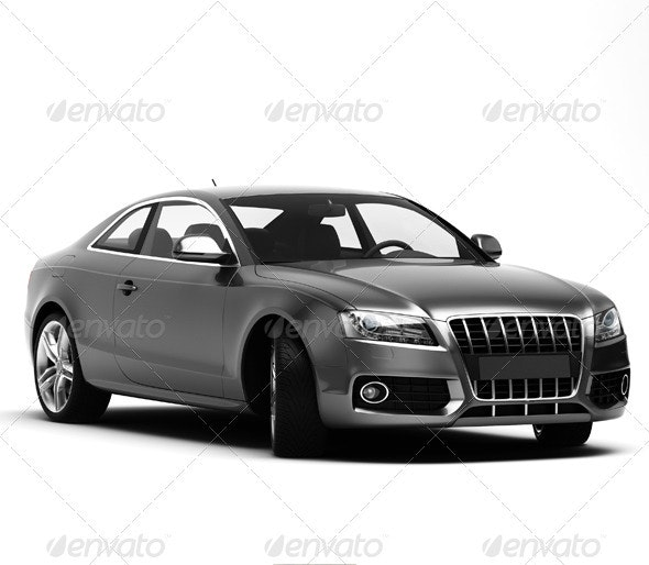 Gray car isolated - 3D Renders Graphics