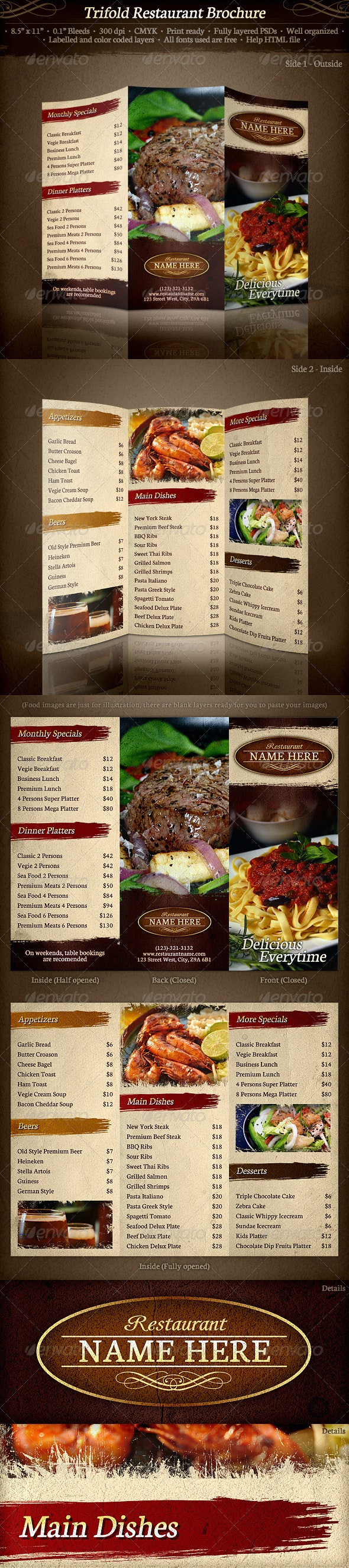 TriFold Restaurant Brochure Template - Food Menus Print Templates