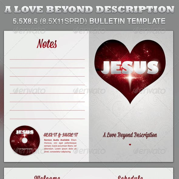 A Love Beyond Description Church Bulletin Template