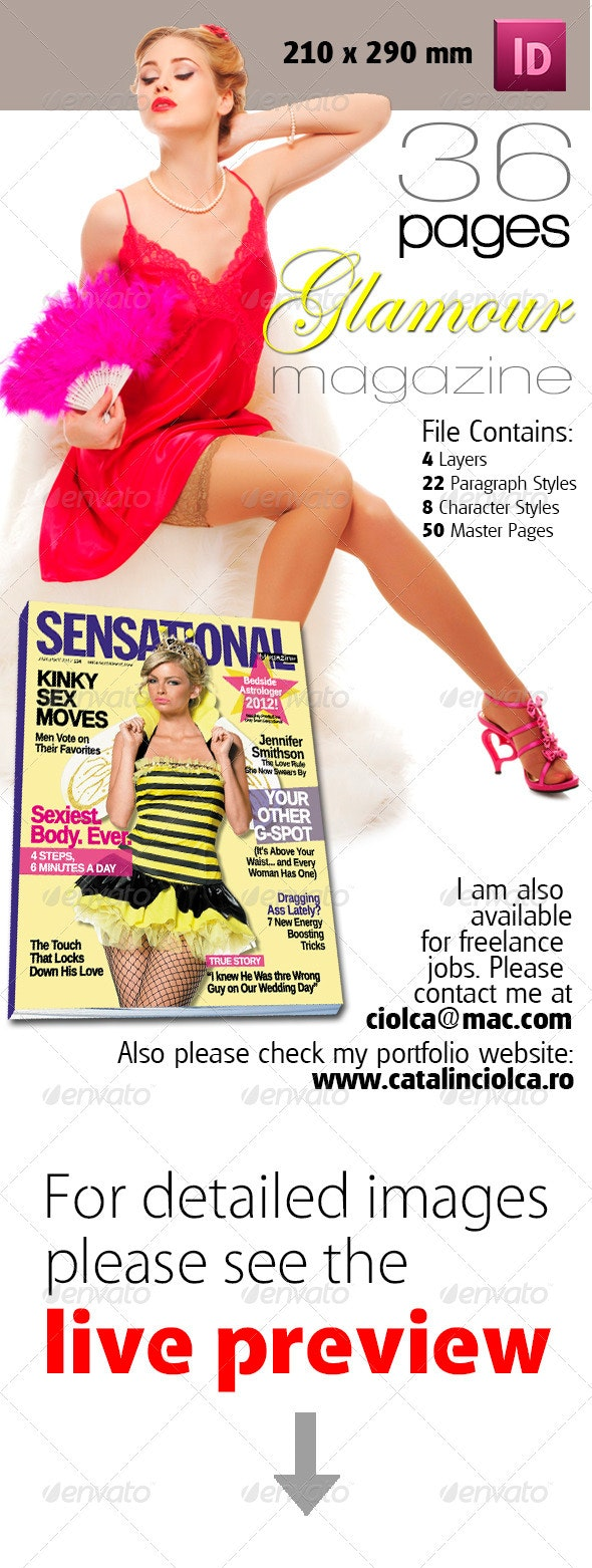 36 Pages Glamour Magazine Version One - Magazines Print Templates