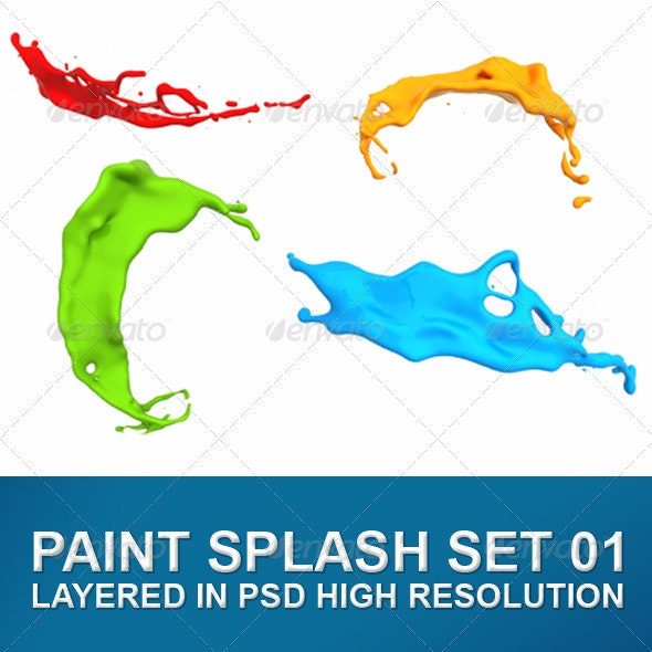 Variety of Isolated Paint Splashes - Abstract 3D Renders