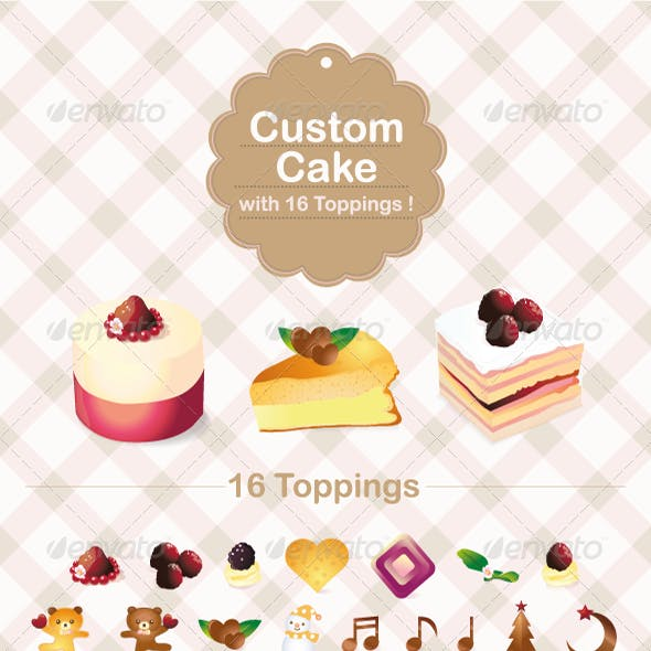 Custom Cake with 16 Topping