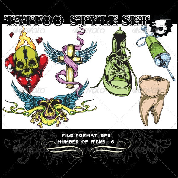 Tattoo Style Vector Set 5