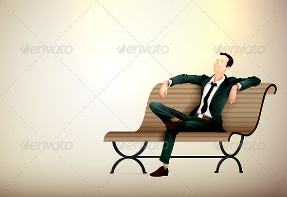 Young business man taking a relaxing break on a be - Concepts Business