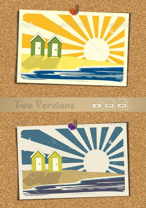 Beach Postcard On Corkboard v3 - Travel Conceptual