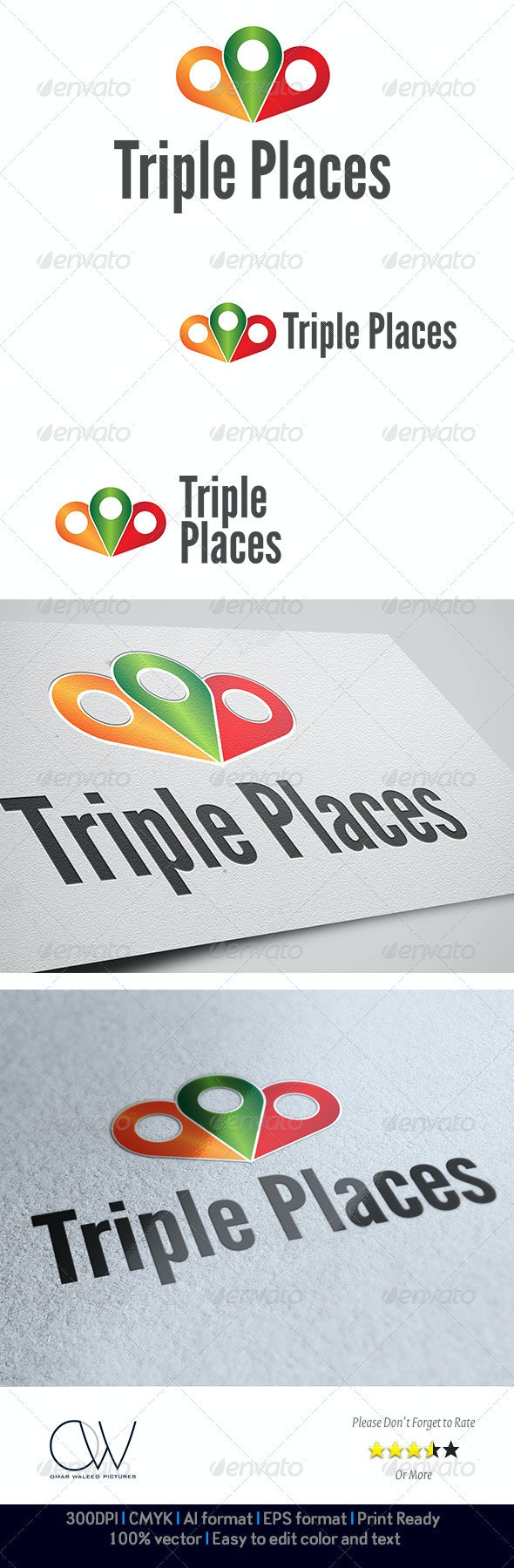 Triple Places Logo - Abstract Logo Templates