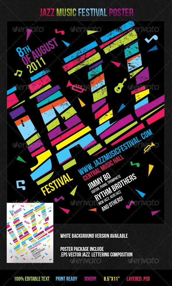 Jazz Music Festival Poster - Concerts Events