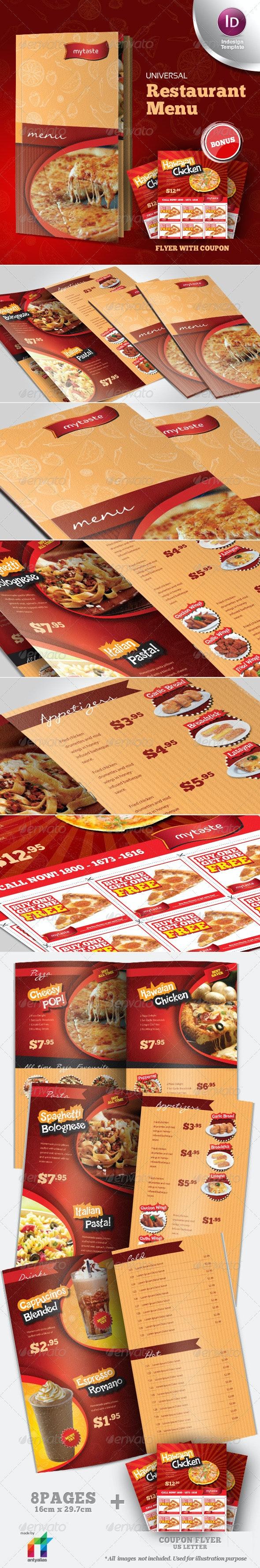 Universal Restaurant Menu Indesign Template - Food Menus Print Templates