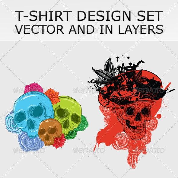 T-shirt design set - Characters Vectors