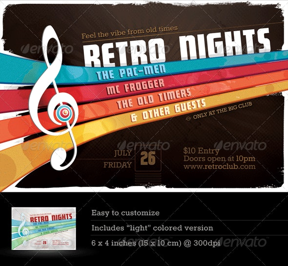 Retro Nights Flyer - Clubs & Parties Events