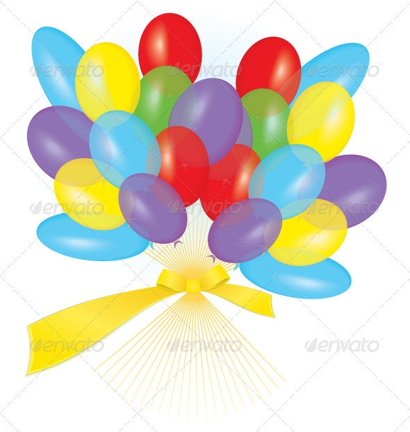 Colorful balloons tied with ribbon as a bouquet - Objects Vectors