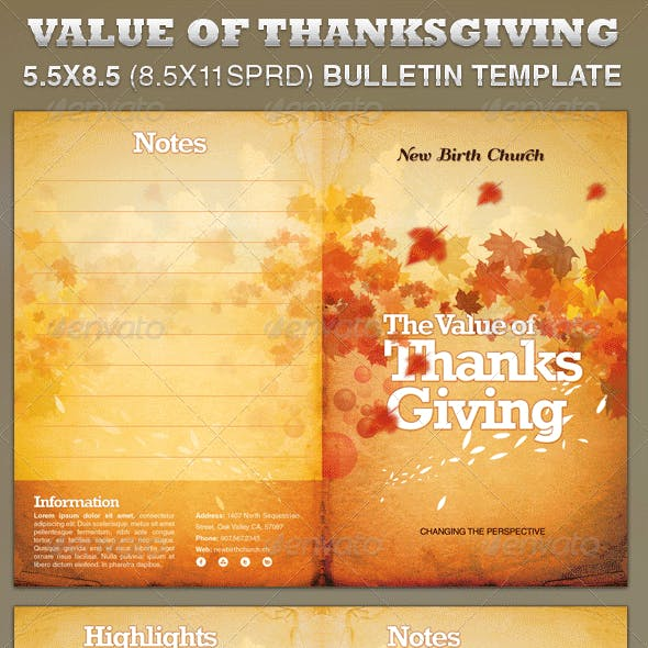 The Value of Thanksgiving Church Bulletin Template