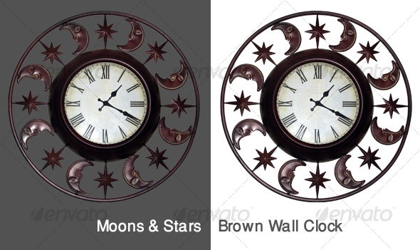 Moons & Stars Wall Clock - Home & Office Isolated Objects