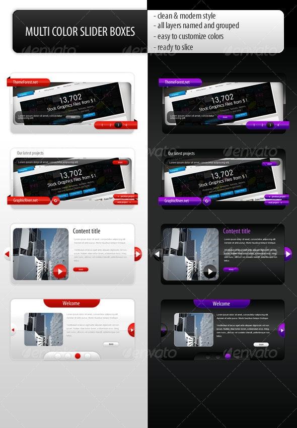 Multi color slider boxes - Web Elements
