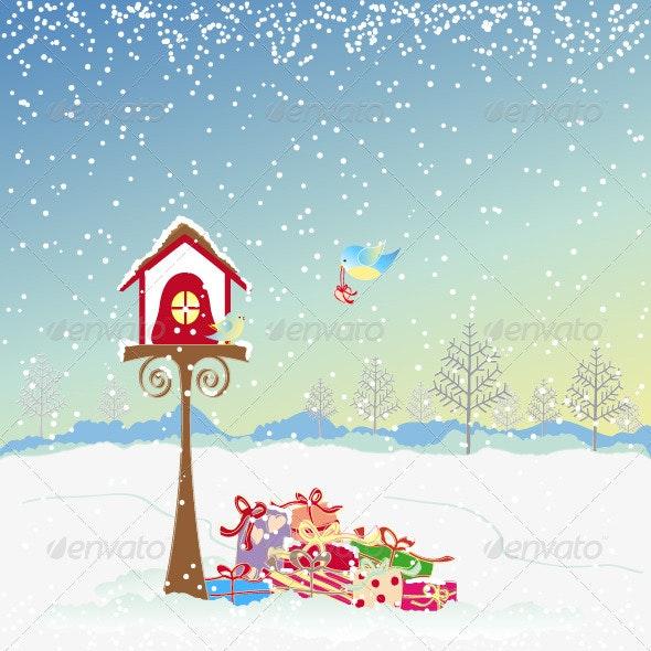 Christmas Greeting Robin bird and Colorful Present - Christmas Seasons/Holidays