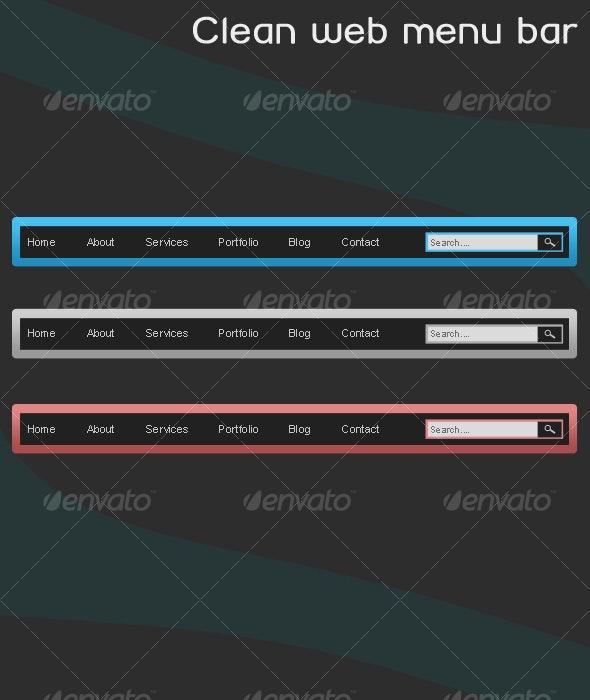 Clean Web Menu Bar - Web Elements
