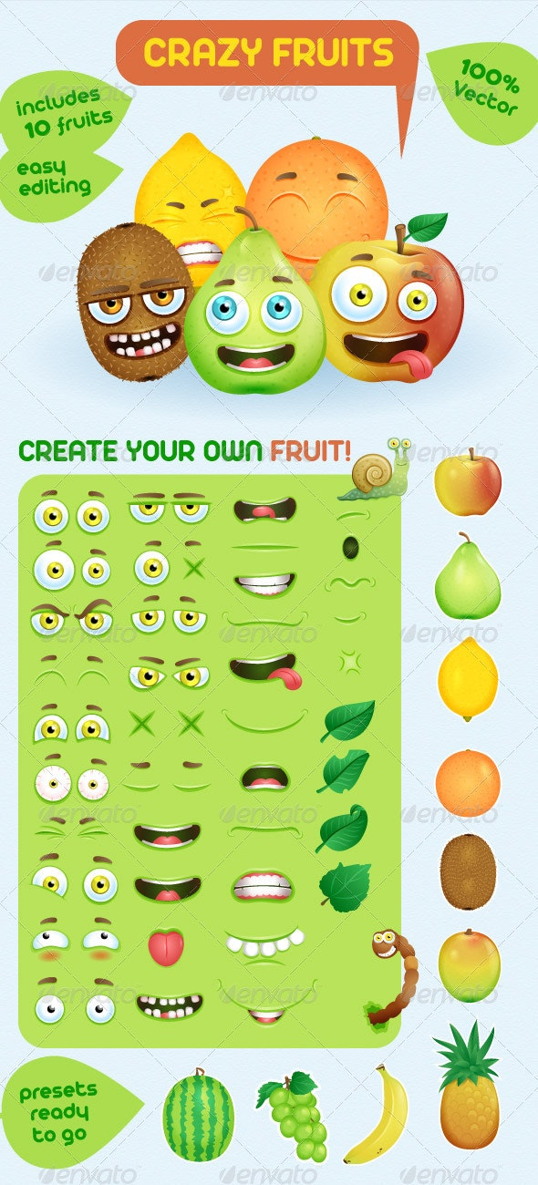 Grazy Fruits Creation Kit - Characters Vectors