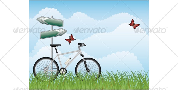 Summer landscape with a bike - Travel Conceptual
