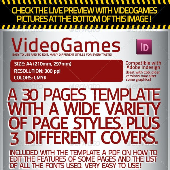 Videogames Magazine Template, with 3 Covers