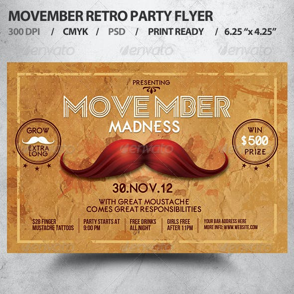Retro Movember Party Flyer