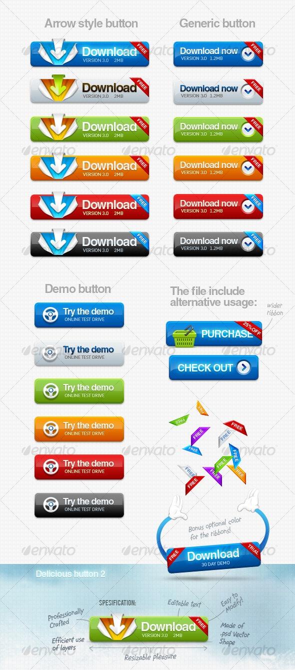 Delicious Download Button - Buttons Web Elements