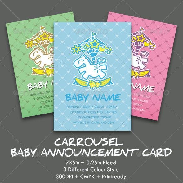 Carrousel Baby Announcement Card