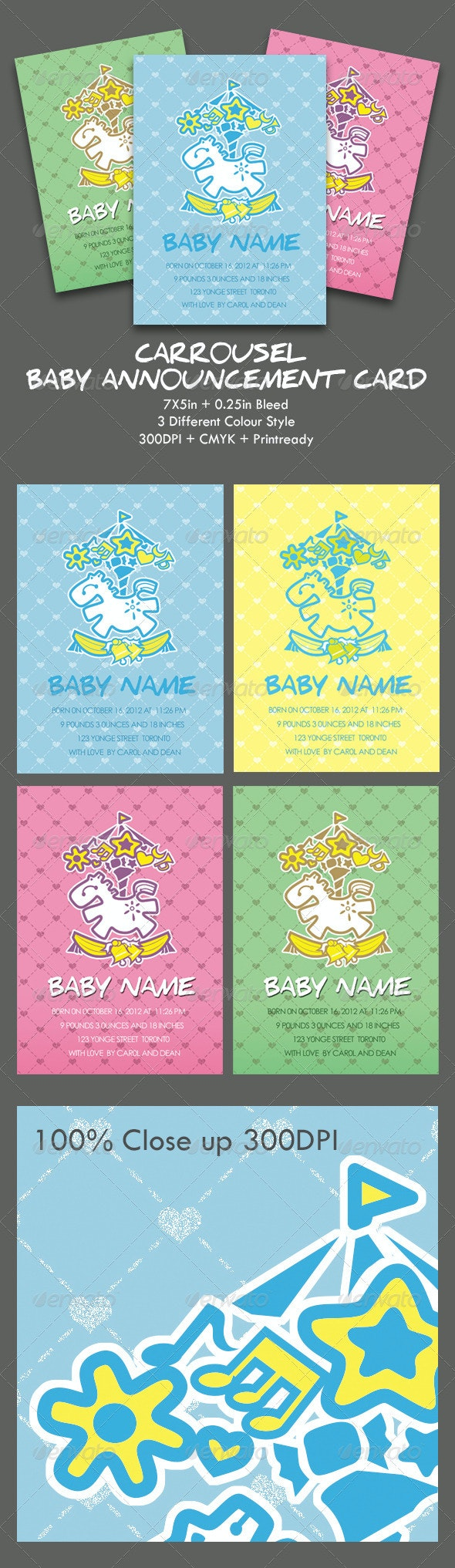 Carrousel Baby Announcement Card - Family Cards & Invites