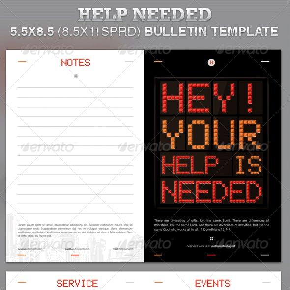 Help Needed Church Bulletin Template