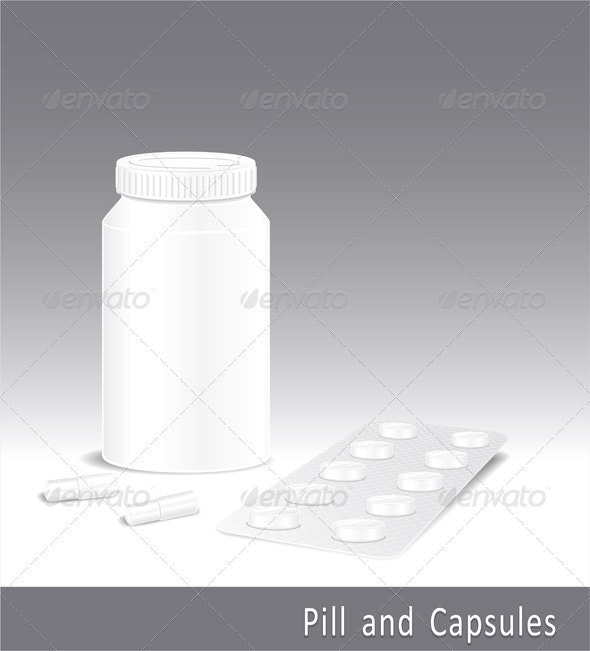Template pharmacy of pills capsules and bottle - Health/Medicine Conceptual