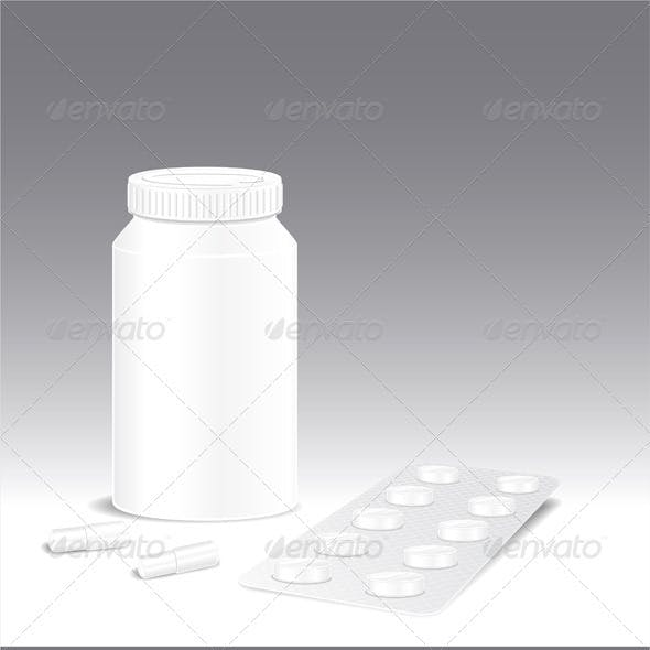Template pharmacy of pills capsules and bottle