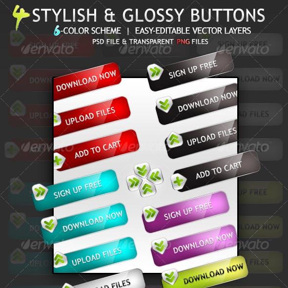 4 Stylish & Glossy Buttons
