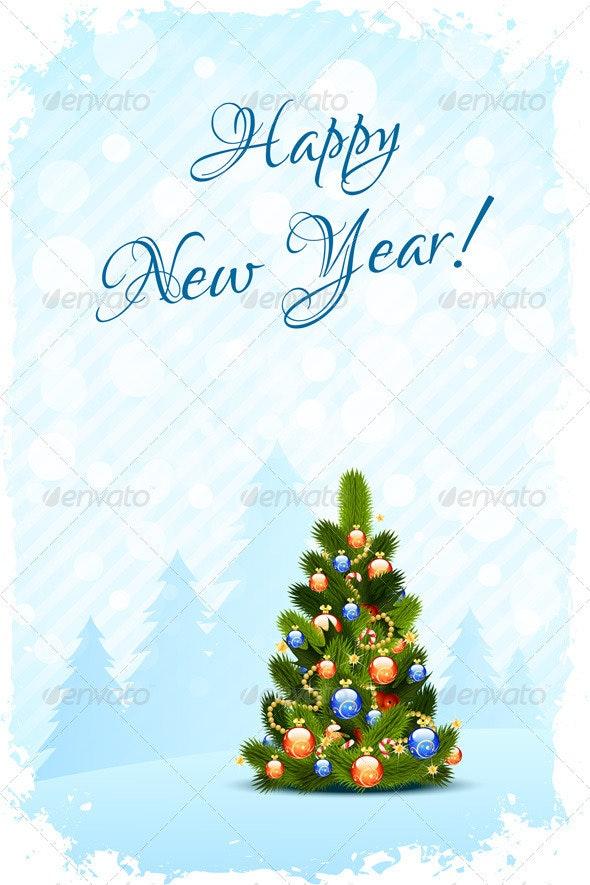 Grungy Happy New Year Card - New Year Seasons/Holidays